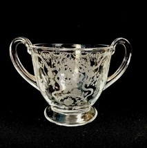 Vintage Fostoria Romance Elegant Etched Glass Ribbon Bow Open Sugar Bowl... - $17.59