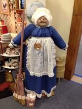 Vacuum Cover Soft Sculpture Grandma -Navy Blue and Cream w/lace apron - $85.00