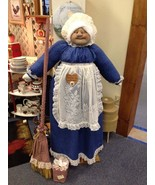 Vacuum Cover Soft Sculpture Grandma -Navy Blue and Cream w/lace apron - $85.00