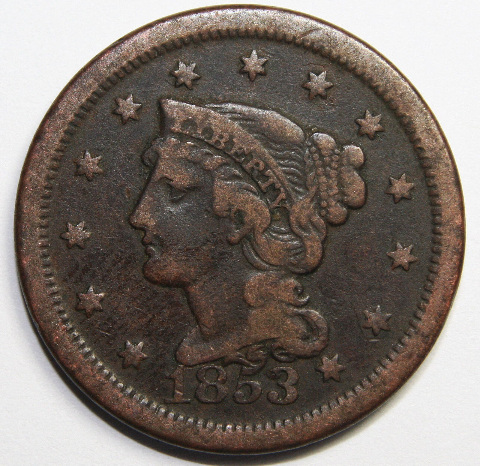 1853 Large Cent Liberty Braided Hair Head Coin Lot # MZ 4102