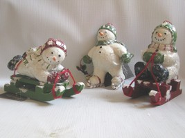 Bethany Lowe Snowmen Ornaments 3 Christmas Figures Winter Frolic Sledding - $45.49
