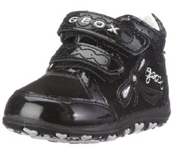 Geox Baby Bubble First Walker Black Suede Patent Leather, Size US 4, EUR 19 - $31.67