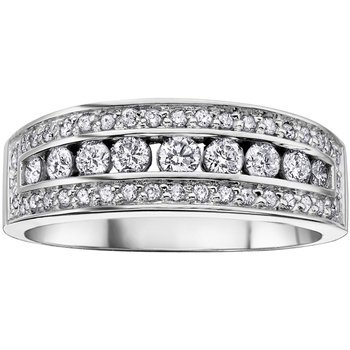 14k White Gold Plated 925 Sterling Silver Round Cut CZ Women's Pretty Band Ring