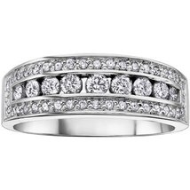 14k White Gold Plated 925 Sterling Silver Round Cut CZ Women's Pretty Band Ring - $87.88