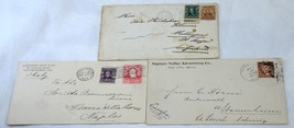 3 Early USA 5c Envelopes to Foreign Destinations Cover Collection Stamps... - $10.80