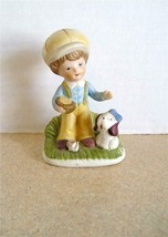 """Homco Little Boy with His Dog Bisque Ceramic 4"""" High - $2.80"""