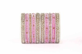 Elegant all pink silver threads bangle set by Leshya for two hands - $34.00