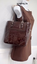 Coach Patent Leather Brown Lunch Handbag Tote Bag Purse - $123.75