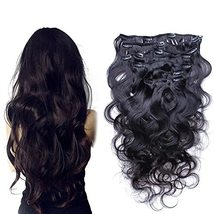 Body Wave Clip in Human Hair Extension Brazilian Remy Clip on Hair Extension Nat - $141.57