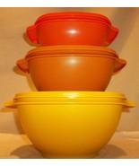 Vintage Tupperware Servalier Storage Bowls Set Harvest Colors Autumn Spl... - $49.99