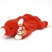 1995 TY Beanie Baby Original Snort the Red Bull Retired Plush Toy Doll