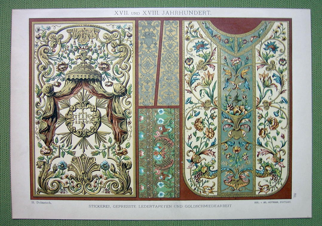 TAPESTRY Goldsmith Work Baroque Fabrics Embroidery - 1880s Color Litho Print