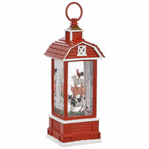 "Raz Imports stacked farm lantern lighted water 11.75"" 754 cow sheep pig ... - £36.03 GBP"