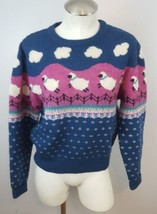 Vtg 80's 90's Sweater Fairy Kei Kawaii Woolrich wool sheep lambs small - $93.49