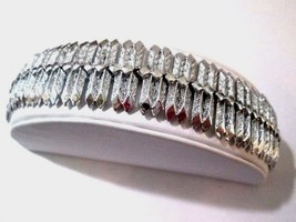 Textured Shimmery & Smooth Chrome Finish Segmented Kramer Bracelet Vintage - $25.00