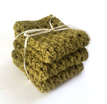 Handmade Dish Cloths Olive Green Crochet Cotton Kitchen Dishcloths Set of 3 - $16.25