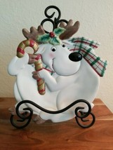 Fitz & Floyd Holiday Essentials White Reindeer with Candy Cane ~ Cookie Plate  - $12.82