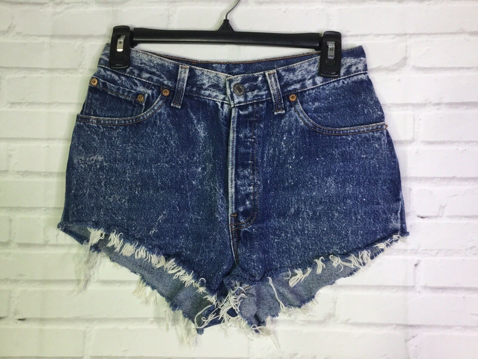 Primary image for VTG Levi's Womens Size 9 Denim Jean Cheeky CutOff Shorts Blue Stone Acid Wash