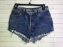 VTG Levi's Womens Size 9 Denim Jean Cheeky CutOff Shorts Blue Stone Acid... - $42.07