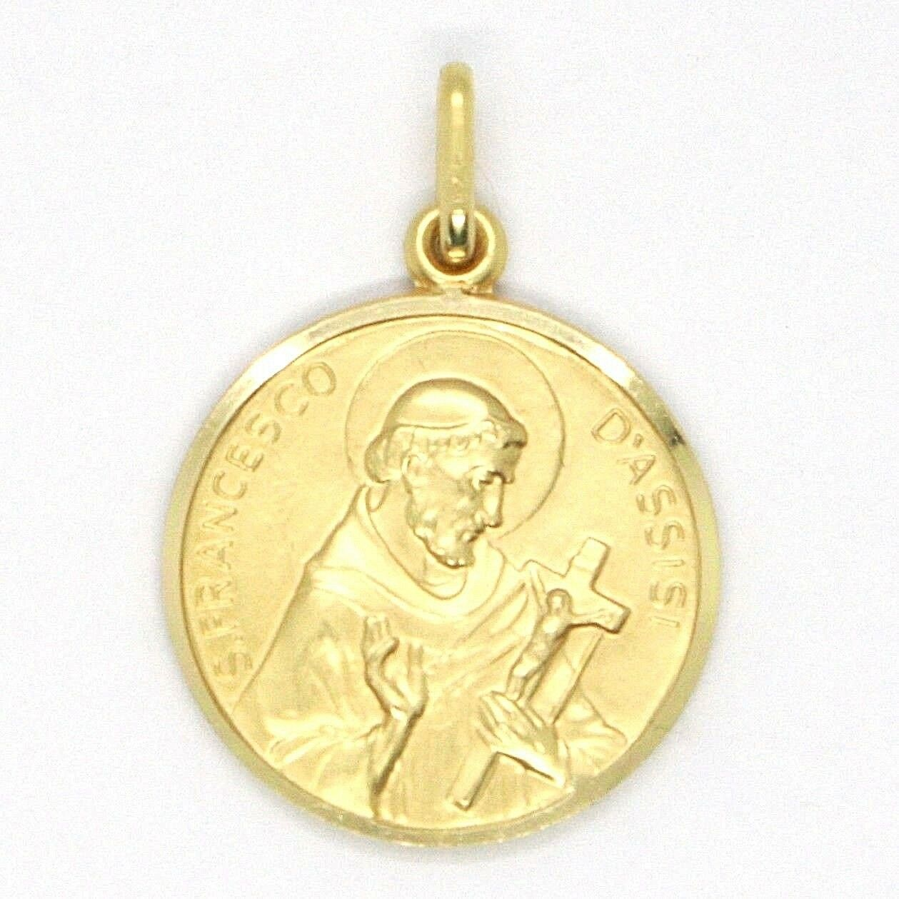 18K YELLOW GOLD ST SAINT FRANCIS FRANCESCO ASSISI MEDAL, MADE IN ITALY, 17 MM