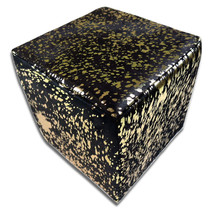 Cowhide Cube Cowhide Ottoman Gold Metallic on Black Cow hide Furniture - $267.29