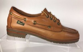 BASS Womens Leather Boat shoes Tan Lace Up Casual Deck shoes Size 6.5 M - $34.87
