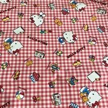 Sanrio Hello Kitty Fabric 1/2 yard Red gingham Book Plush Cookies Scissors Plane - $29.43