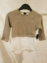 Abigail Pullover Sweater Girls Tops Size 7 Gold & White Long Sleeves Dressy - $45.64
