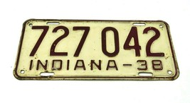 Vintage Original Indiana License Plate 1938 - $59.95