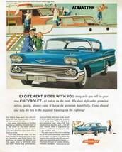1958 CHEVY IMPALA SPORT COUPE CAR AD NRMT CHEVROLET ADVERTISING PRINT ART - $9.74