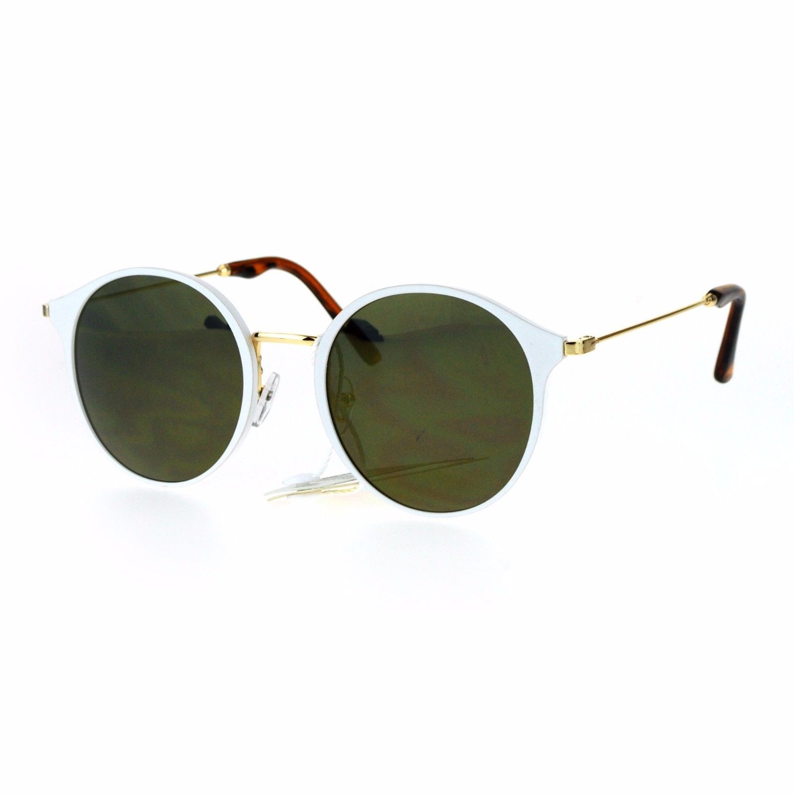 Womens Fashion Sunglasses Matted Metallic Finish Round Frame UV 400