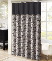 Paisley Shower Curtain Damask Shabby Chic Stall Black White Fabric Tub D... - $42.99