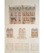 ARCHITECTURE Color Print - VICTORIAN Brick Mansions Avenue Perichont in ... - $49.50