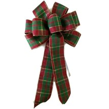"""Large 10"""" Hand Made Red, Gold & Green Plaid Bow - Christmas Wreath - $6.68"""