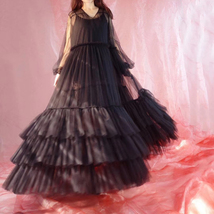 Women Black Maxi Dress Gown Long Sleeve Loose Tiered Tulle Party Dress Plus Size image 7