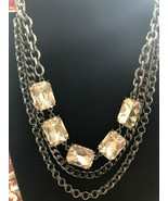 Baublebar Necklace Multi Chain with Rectangular Shaped Crystals - NWOT! - $16.87