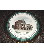Vintage ROMA - IL COLOSSEO Gold Trim Cabinet Plate - $12.00