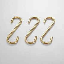 S Hooks 3 PCS for Hanging,Brass Hook Hangers for Kitchen Bathroom Heavy Duty,Bru