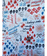 Baking Cotton Fabric 30 in x 44 Windham Bake Remnant Red White 39775 Des... - $9.00