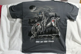 INDIAN BRAVE ON HORSE MOON END OF THE TRAIL NATIVE AMERICAN GRAY T-SHIRT... - $11.62