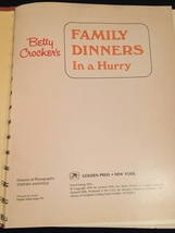 Vintage 1970 Betty Crocker's Family Dinners in a Hurry Cookbook- hardcover image 2