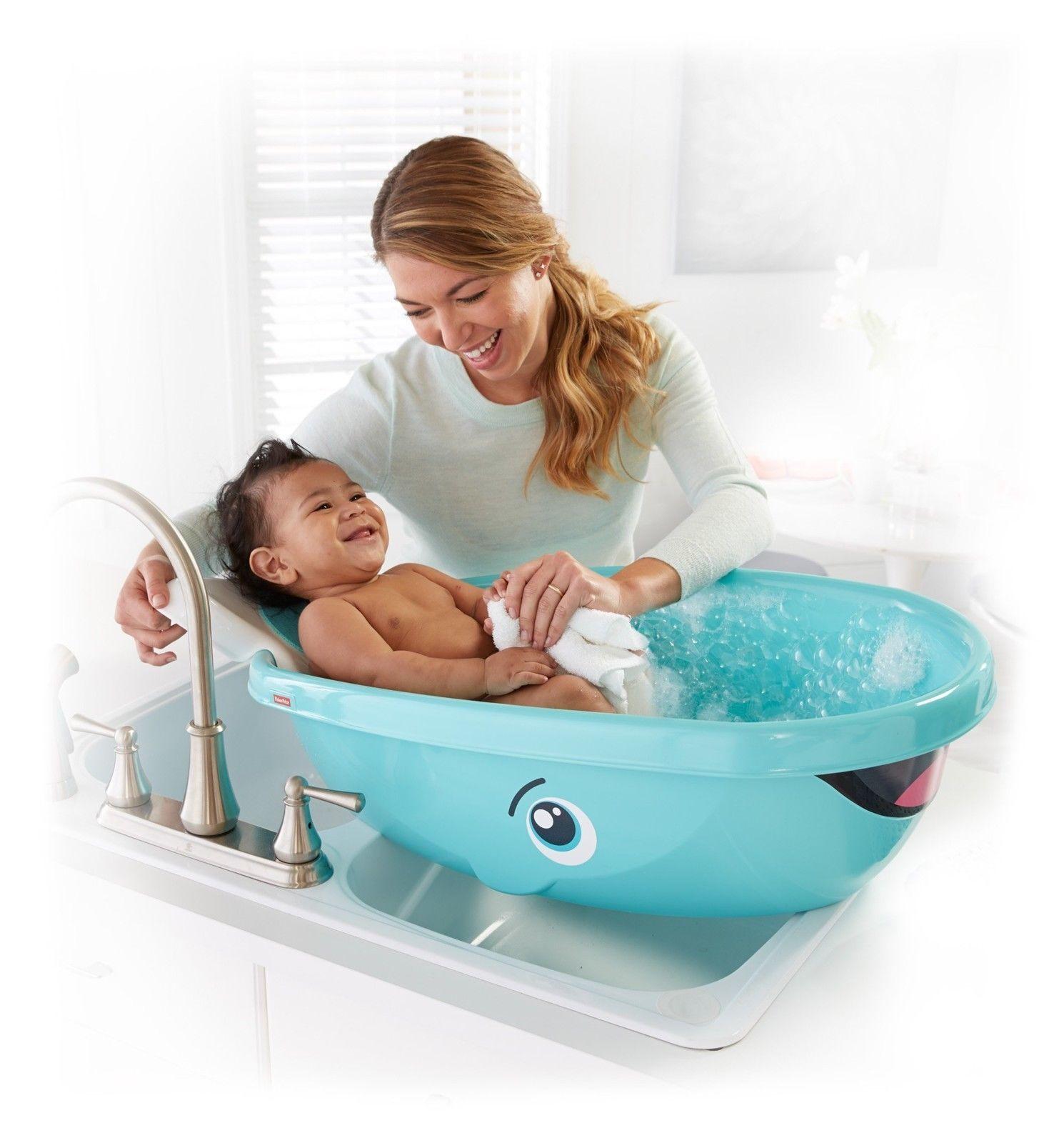 Fisher Price Whale Kids Toddler Newborn Shower Bath Safety Seat Tub ...