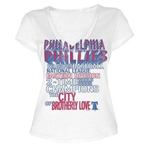 MLB  Woman's Philadelphia Phillies WORD White Tee with  City Words L - $15.99