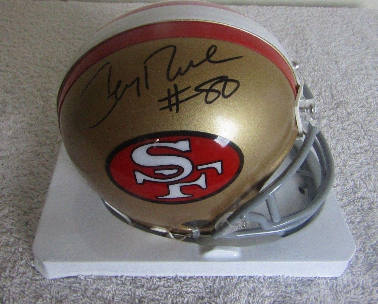 b39f829fc 57. 57. Previous. JERRY RICE AUTOGRAPHED SIGNED SAN FRANCISCO 49ers MINI  HELMET BECKETT COA