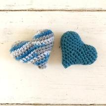 Tiny crochet hearts, blue and gray - $11.00