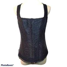iCollection Back Lace Up Brocade Corset Top Black Size 40 - $38.61