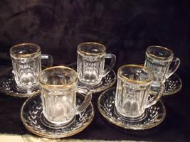 SET OF (5) VINTAGE VMC REIMS FRANCE GOLD TRIM GLASS DEMITASSE MUGS & SAU... - $39.60
