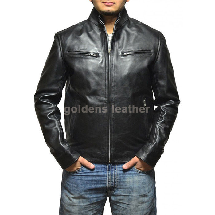 New Men's Stylish Lambskin Genuine Leather Motorcycle Biker Slim Fit Jacket GN22