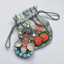 Doll Brooch   Baby  birthday Gift, Small silk bag with embroidery for je... - $80.00