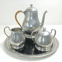 Queen Art Tea Set Hand-made Pewter Pot Tray Sugar Creamer Hallmark Stamp... - $81.68